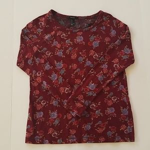 Forever 21 Long Sleeve Floral Sweater Maroon